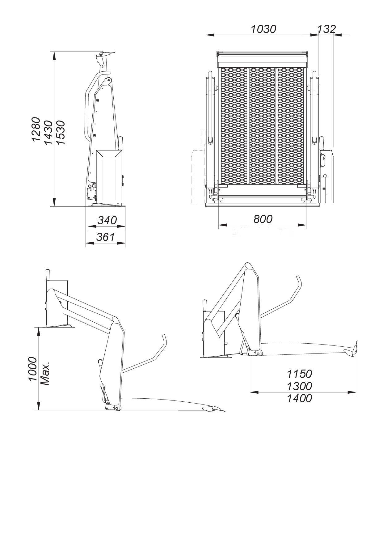 Fiche technique : Elévateur fixe Centaure pour fauteuil roulant , usage privatif maison jusqu'à 1 mètre de haut