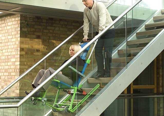 Chaise d'évacuation Excel. Evacuation par escalier de personnes handicapées ou à mobilité réduite