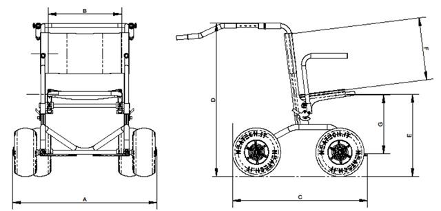 Dimension du déambulateur tout terrain JOB walker
