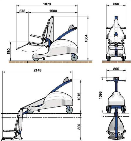 Dimensions élévateur de piscine mobile blupool