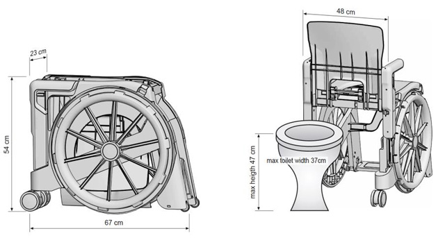 Dimensions fauteuil d'aisance wheelable