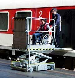 Élévateur mobile Pégase, permet l'accès au train pour handicapés en fauteuil roulant et scooter